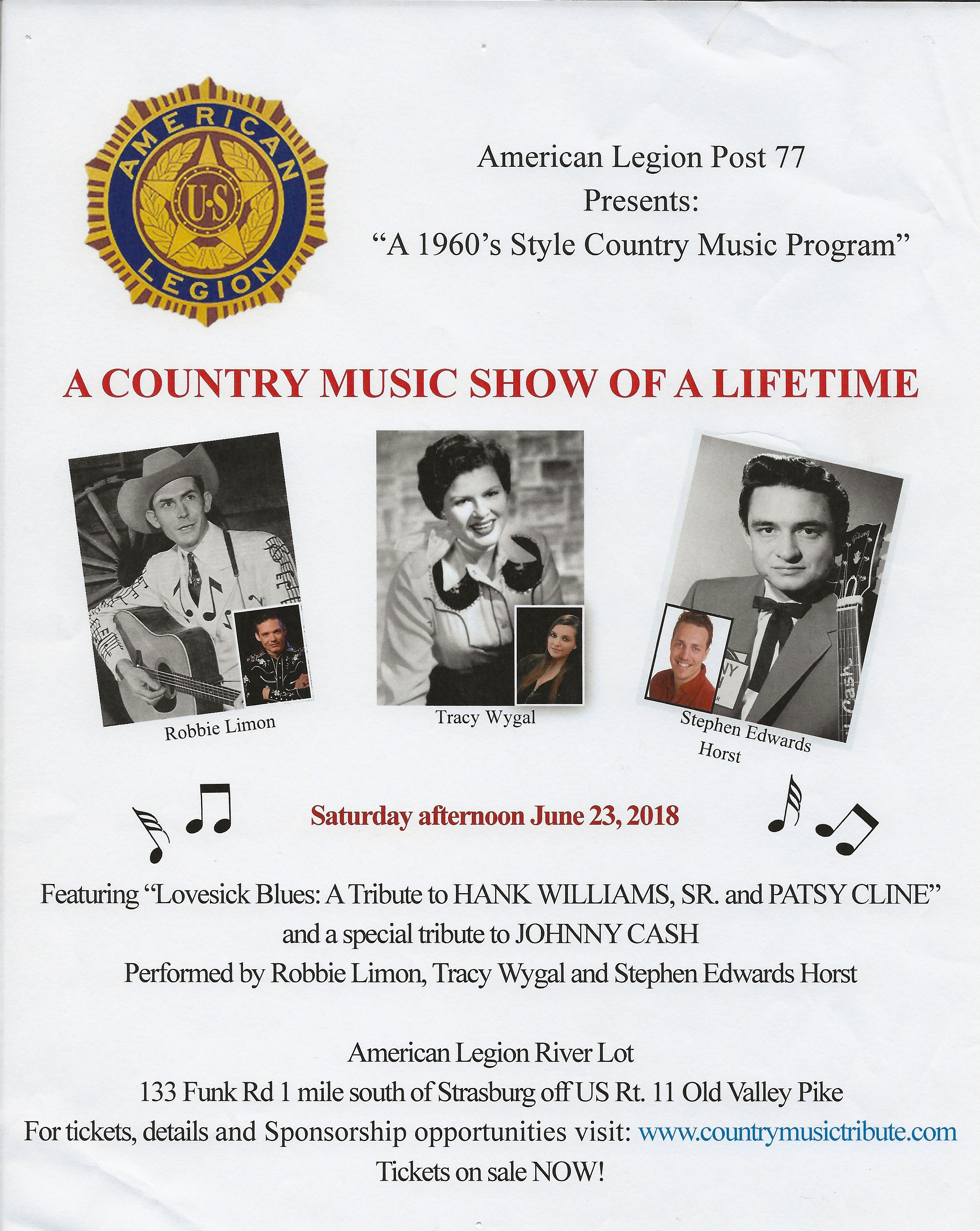 A Country Music Show of a Lifetime @ American Legion River Lot